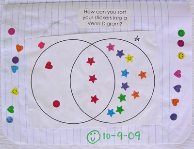 Math problem solving week 4 attributes and sortingrt 2 here i had them sort colored heart star and happy face stickers into a venn diagram ccuart Images