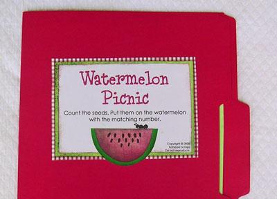 Watermelon Picnic File Folder Game Kindergarten Kindergarten