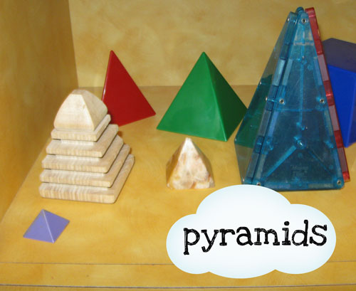 And a few others that dont fit mostly triangular prisms which the kids mistakenly think are pyramids and eggs what shape are eggs anyway
