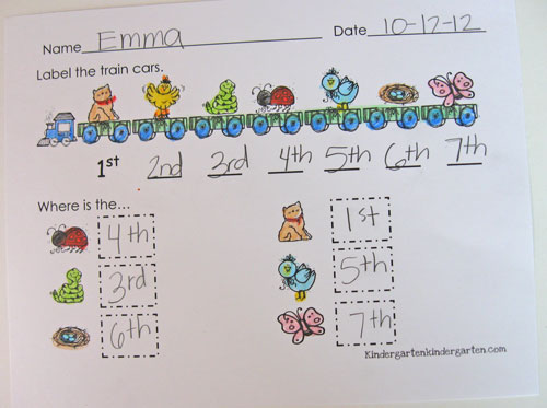 Kindergarten Kindergarten Ordinal Numbers – Ordinal Numbers Worksheet for Kindergarten