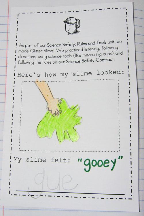 HandsOn Science Glitter Slime Kindergarten Kindergarten – Science Safety Rules Worksheet